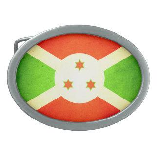 Sun besó la bandera de Burundi Hebilla Cinturon Oval
