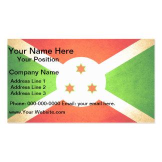 Sun besó la bandera de Burundi Plantillas De Tarjetas De Visita