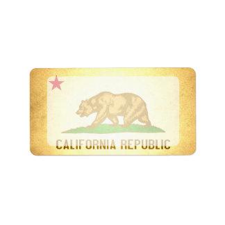 Sun besó la bandera de California Etiqueta De Dirección