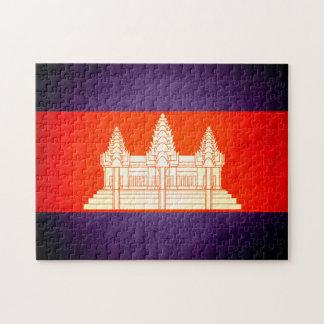 Sun besó la bandera de Camboya Rompecabeza Con Fotos
