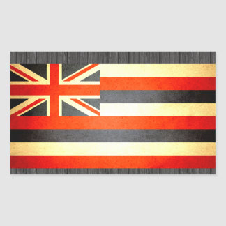 Sun besó la bandera de Hawaii Pegatina Rectangular