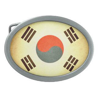 Sun besó la bandera de la Corea del Sur Hebilla De Cinturón Oval