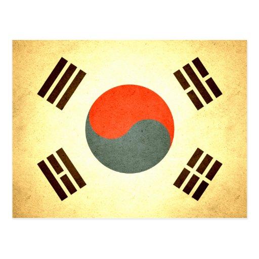 Sun besó la bandera de la Corea del Sur Postal