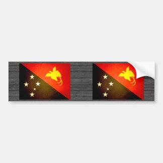 Sun besó la bandera de Papúa Nueva Guinea Pegatina Para Auto