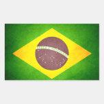 Sun besó la bandera del Brasil Rectangular Pegatinas