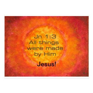 Sun bible verse Christian Creation Jn 1:3 Jesus Postcard