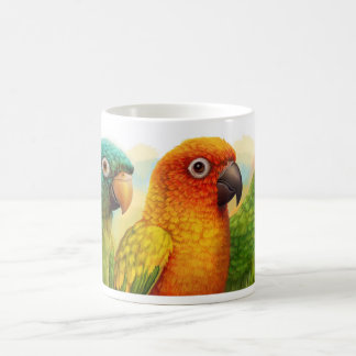 Sun blue-crowned green-cheeked conures 11 oz magic heat Color-Changing coffee mug