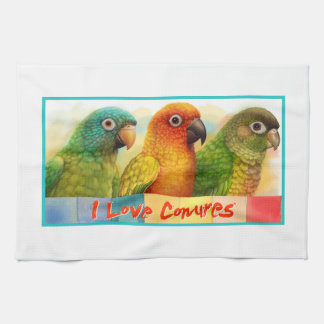 Sun blue-crowned green-cheeked conures kitchen towel