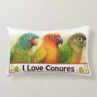 Sun blue-crowned green-cheeked conures lumbar pillow