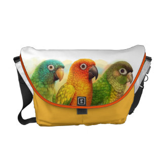 Sun blue-crowned green-cheeked conures messenger bag