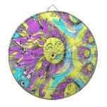 Sun brillante y diseño púrpuras y amarillos de la  tablero dardos