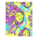 Sun brillante y diseño púrpuras y amarillos de la  membrete