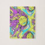 Sun brillante y diseño púrpuras y amarillos de la  rompecabeza con fotos