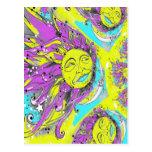 Sun brillante y diseño púrpuras y amarillos de la  postal