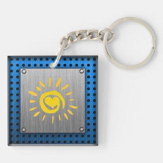 Sun; brushed metal-look keychain