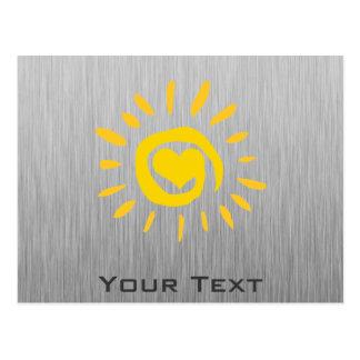 Sun; brushed metal-look postcard