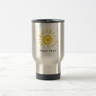 Sun; brushed metal-look travel mug
