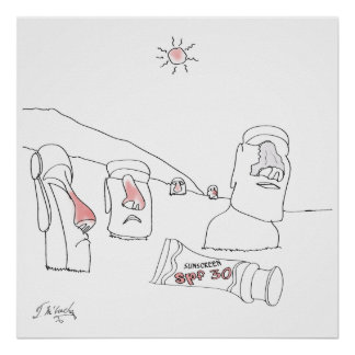 Sun Burn Cartoon 9354 Poster