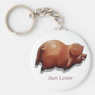Sun Burned Piggy Roasting: Sun Lover: Art Keychain