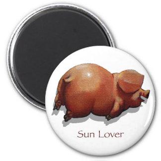 Sun Burned Piggy Roasting: Sun Lover: Art Fridge Magnets