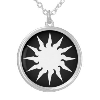 Sun Burst Round Pendant Necklace