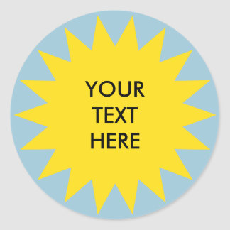 Sun Burst shape with custom text Classic Round Sticker