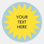 Sun Burst shape with custom text Round Sticker