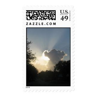 Sun Burst Through the Clouds Postage Stamp