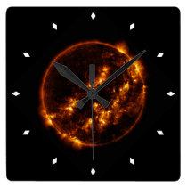Sun Bursts Solar Astronomy Star Square Wall Clock