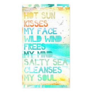 Sun caliente se besa la cara que el mar salado lim plantillas de tarjeta de negocio