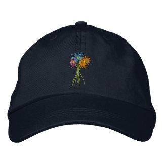 Sun cap. Flower Bunch. Coloured daisies Embroidered Baseball Cap
