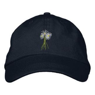 Sun cap. Flower Bunch. Cornish White Moon Daisies Embroidered Baseball Hat