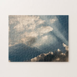 Sun casting beams trough the clouds jigsaw puzzle
