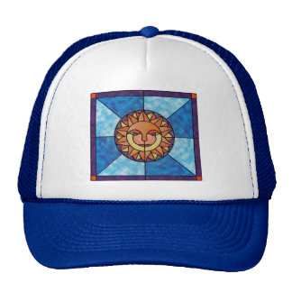 Sun Celestial Vintage Stained Glass Style Trucker Hat