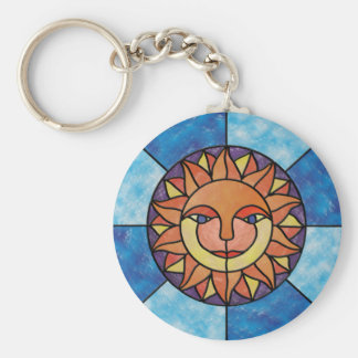 Sun Celestial Vintage Stained Glass Style Key Chains