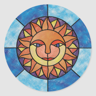 Sun Celestial Vintage Stained Glass Style Classic Round Sticker