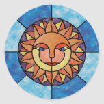 Sun Celestial Vintage Stained Glass Style Stickers