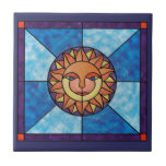 Sun Celestial Vintage Stained Glass Style Tiles