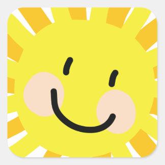 Sun Child Drawing Square Sticker