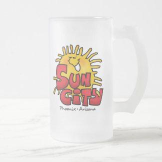 Sun City 3 Frosted Glass Mug