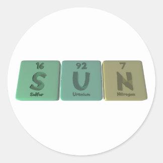 Sun como nitrógeno del uranio del azufre pegatina redonda
