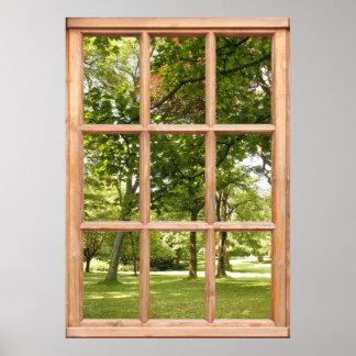 Sun con la opinión de árboles de una ventana póster