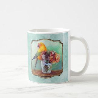 Sun conure and flowers coffee mug