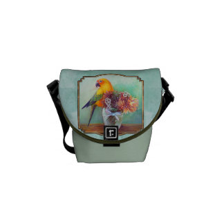 Sun conure and flowers messenger bag
