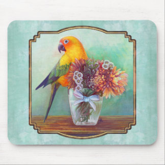 Sun conure and flowers mouse pad