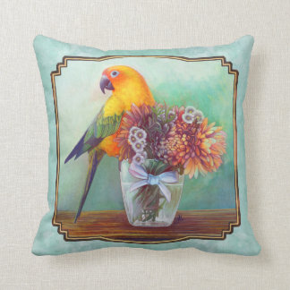 Sun conure and flowers throw pillow