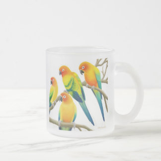 Sun Conure Parrots Frosted Glass Mug