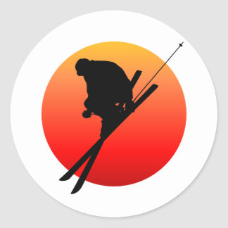 Sun cool skiing classic round sticker
