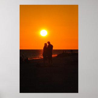 Sun Couple Silhouette Love Sanibel Sunset Poster
