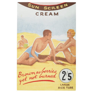 Sun Cream Advertisement Summer Beach Vintage Metal Print